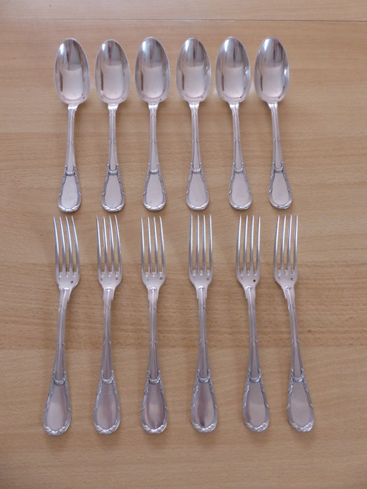 Housewife 6 table cutlery - .950 silver - Emile PUIFORCAT - France - 1850-1899