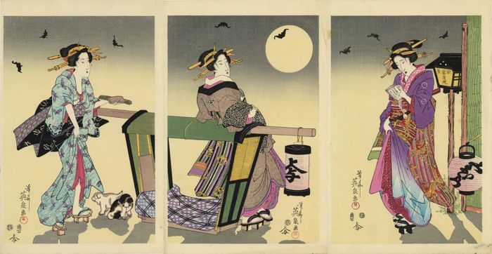 "Triptych, Woodblock print (reprint) - Keisai Eisen (1790-1848) - ""The Night Lamp at Akiba"" (Three courtesans beneath a full moon) - Late 20th century"