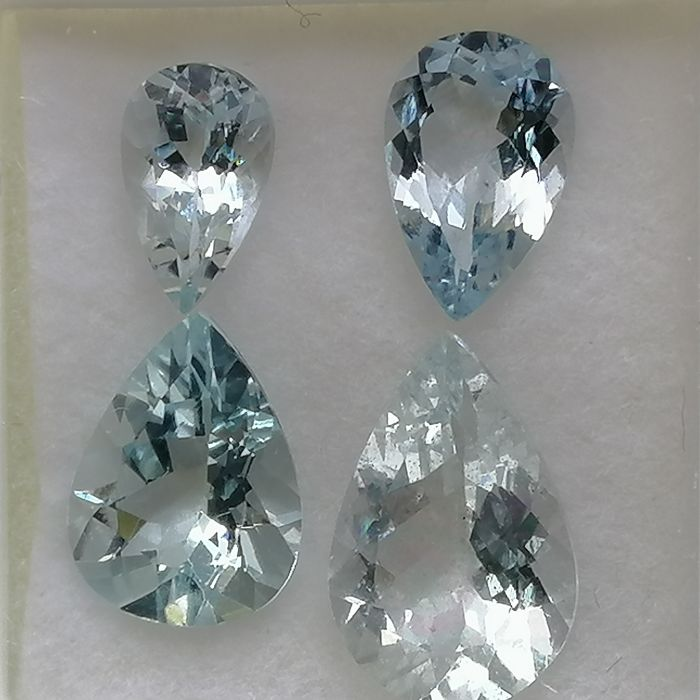 4 pcs  Aquamarine - 5.54 ct