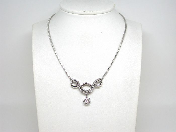 18 kt. White gold - Necklace - 2.50 ct Diamond