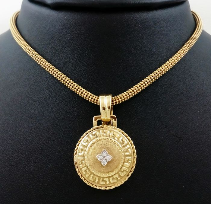18 kt. Gold - Necklace with pendant - 0.06 ct Diamond