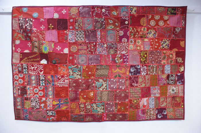 Tapestry patchwork red (1) - Art Deco - Cotton - Second half 20th century