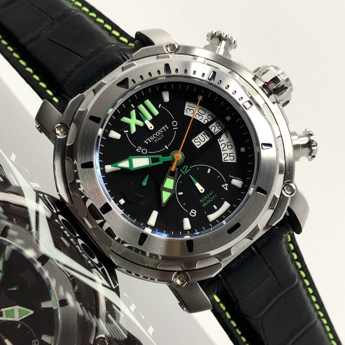 "Visconti - Full Dive 500 Steel Green Tone ""NO RESERVE PRICE"" - KW51-04 - Homme - NEW"