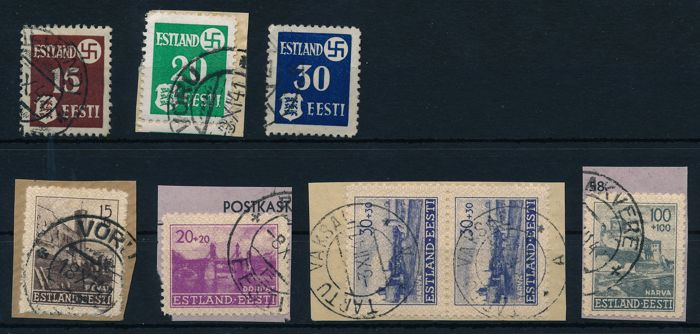 Estonia - during the German occupation II. WK 1941 - Definitives country post 15 k - 30 k and reconstruction 15 k - 100 k No. 1 - 3 und ex. 4 -9