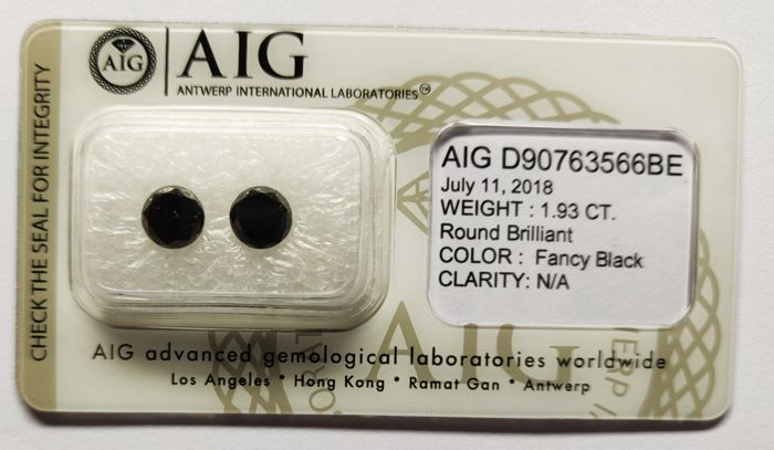 2 pcs Diamanter - 1.93 ct - Rund - Fargebehandlet - N/A
