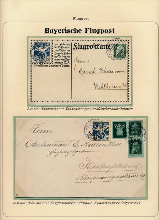 Bavarian airmail 1912/1926 - Extensive exhibition collection in ring binder