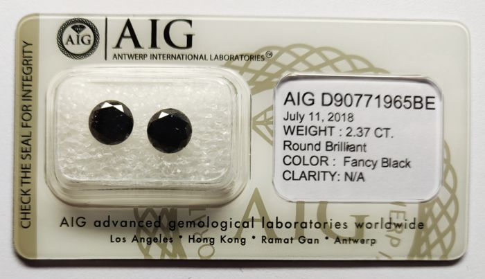 2 pcs Diamantes - 2.37 ct - Redondo - fancy black - N/A