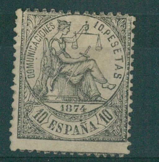 Spain 1874 - Allegory of Justice. 10p. black - Edifil 152