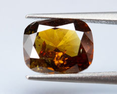 鑽石 - 1.18 ct - 自然花性無色橙色 - fancy vivid reddish orange - I1 *NO RESERVE*