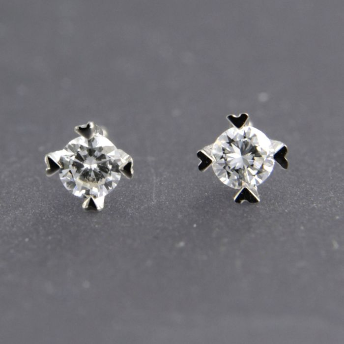 18 carats Or blanc - Boucles d'oreilles - 0.12 ct Diamant