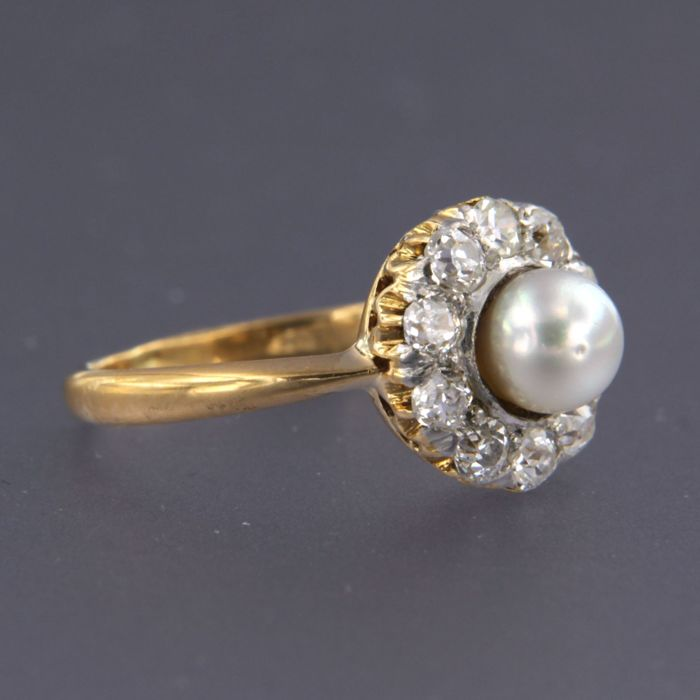 18 kt. Gold, White gold - Ring - 1.00 ct Diamond - Pearl