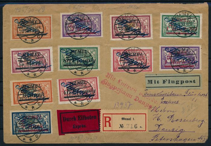 Memelgebiet 1922 - Airmail letter from Memel to Gdansk with - Michel Nr 72 -83 (ohne 79)