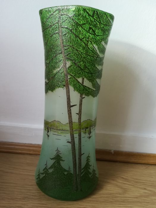 François Théodore Legras (1839-1916)  - Lacquered glazed vase with fir trees