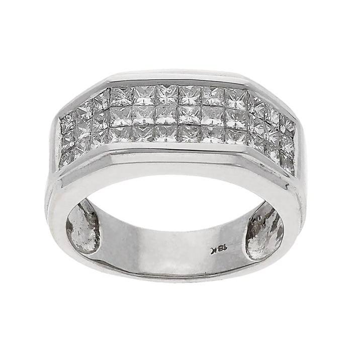 18 quilates Oro blanco - Anillo Diamante