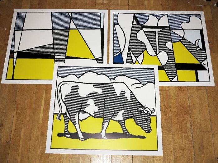 Roy Lichtenstein - Cow going Abstract (Triptych)  - 1980s