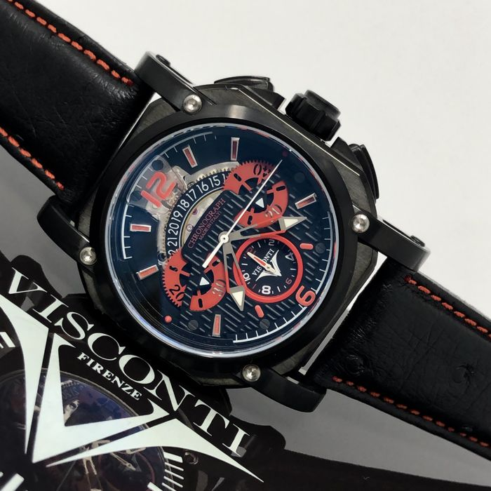 Visconti - Automatic 2Squared Crono Monza Red Tone Black PVD 18/99 - KW35-04  - Heren - NEW
