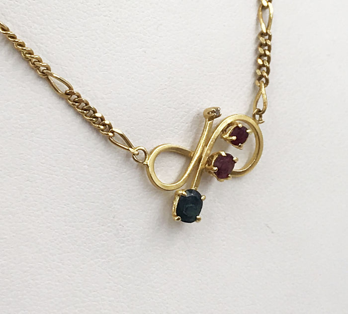 18 kt. - Necklace - 0.60 ct Ruby - Sapphire