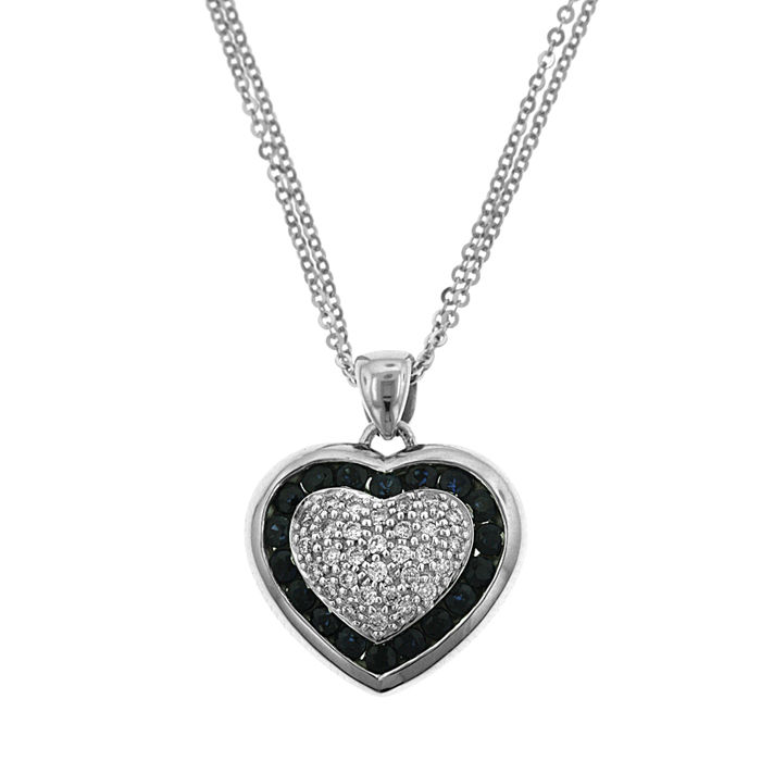 Maurice Badler - 18 kt. White gold - Necklace with pendant - 0.40 ct Diamond - Sapphire