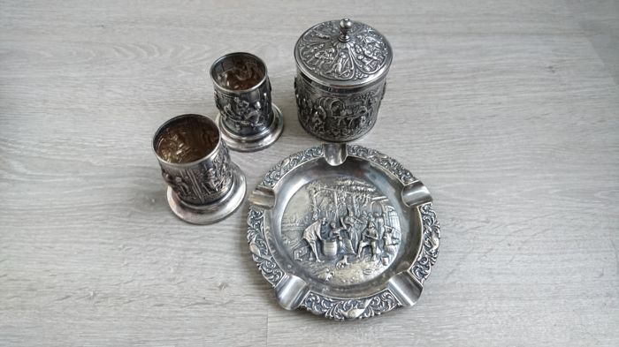Used, Sugar bowl - ashtray - cups - Silver - Douwe Egbert - Silver - Netherlands Silver & Gold for sale