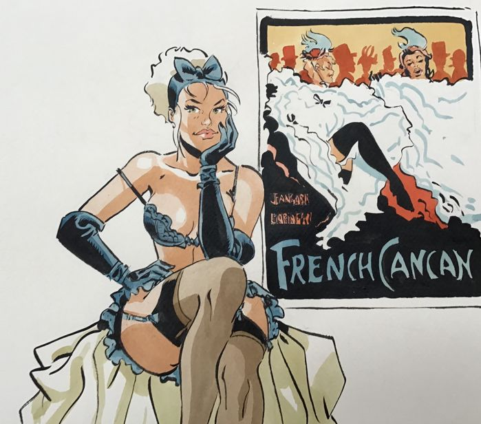 Meynet, Félix - Dessin original en couleur - « French Cancan »