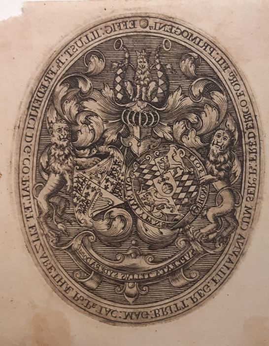 Simon de Passe (1595-1647) - Coat of arms of Frederic V, King of Bohemia and his wife Elizabeth