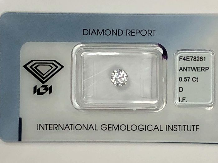 1 pcs Diamond - 0.57 ct - Briliant - D (fără culoare) - IF (perfect)