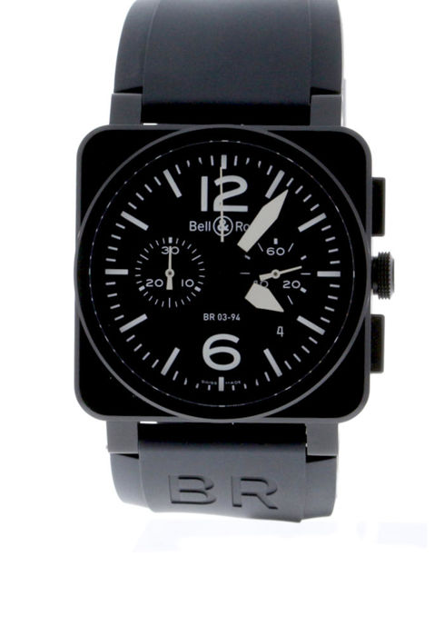 Bell & Ross - BR 03 94 Carbon Chronograph Black Dial Black Rubber Strap - BR0394-BL-CA - Unisex - 2018