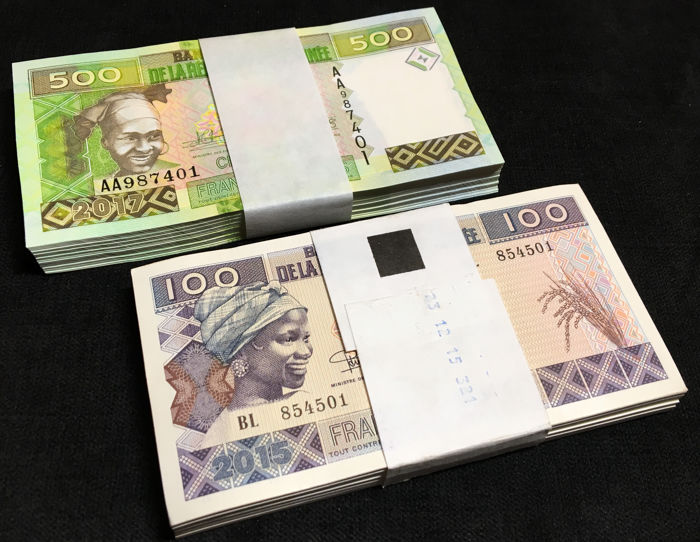 Guinee - 100 x 100 and 500 Francs 2015/17 - Pick- NEW