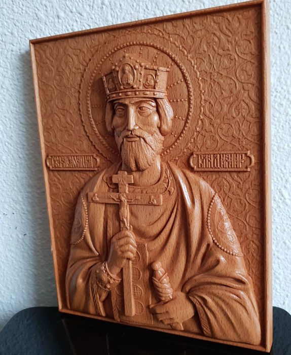 Saint Vladimir the Great - Russian Orthodox carved - Icoon - Hout