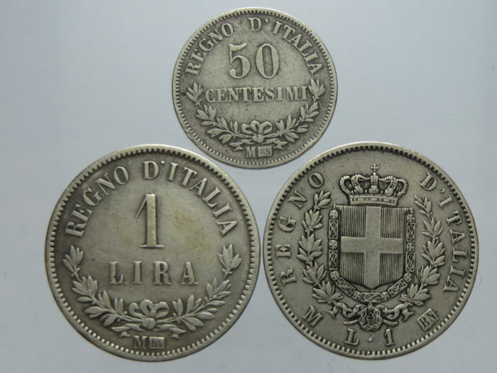 Italy - Kingdom of Italy - Lotto di 3 monete 1863 - Vittorio Emanuele II - Argent