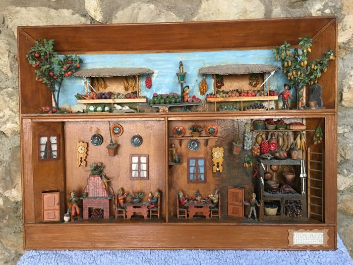 artigianato campano - paintings with models of furniture and nativity type figures - Near set of 2 - Wood