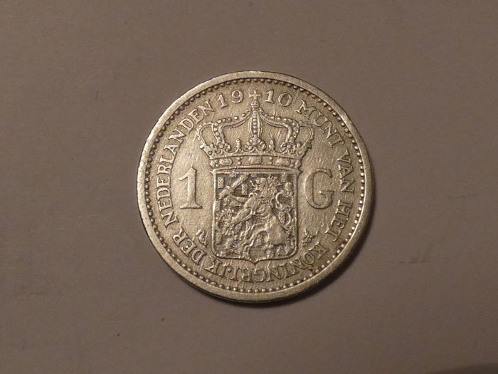 The Netherlands - 1 Gulden 1910 Wilhelmina - Silver