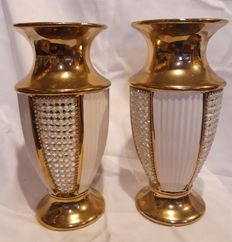 2x decorative vases, gold / beige, rhinestones (2) - Glass?