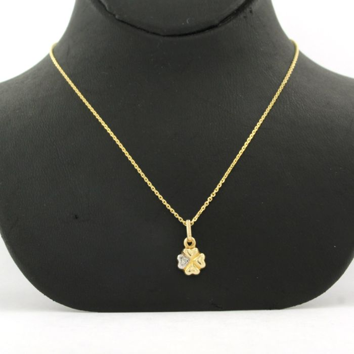 14 kt. Gold, White gold - Necklace with pendant Diamond
