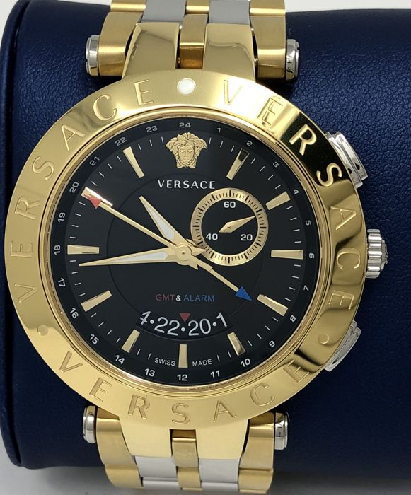 Versace - V-Race GMT & ALARM 2 Tone Gold - Black Dial - 29G79D009 S079 - Uomo - NEW