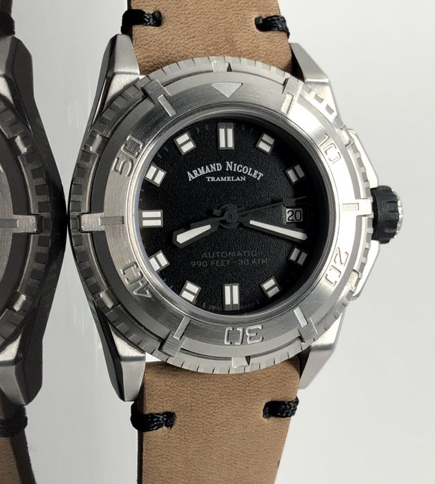 3bdc68485 Armand Nicolet - JS9 Diver Black with Tanned Leather -