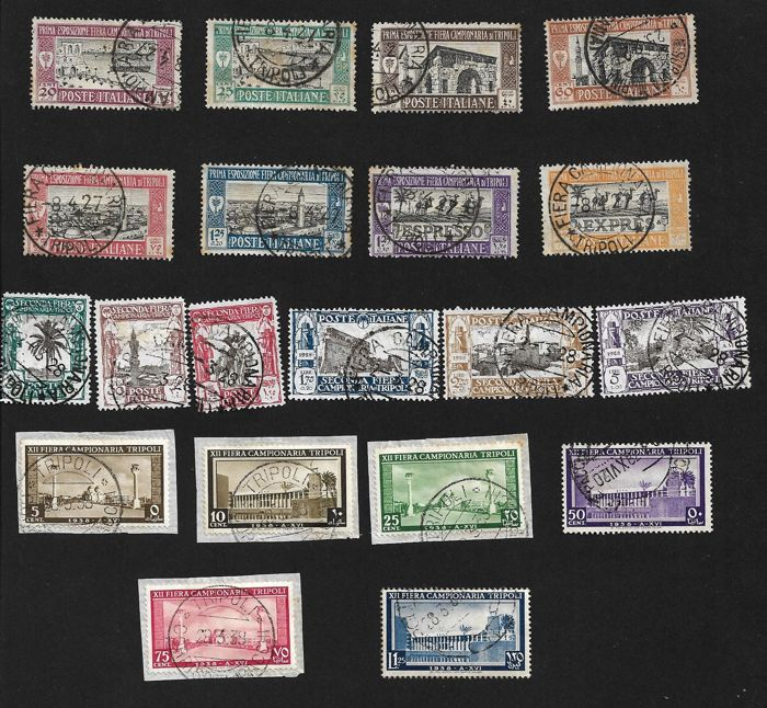 Italy - Libya lot I, II, IV and XII trade fair, complete sets new/used - Sassone N° S.14 + S. 15 + S. 18 + S.36