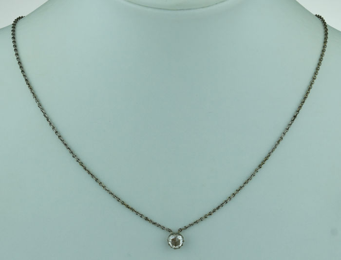 835 Silver - Necklace with pendant - 0.65 ct Diamond