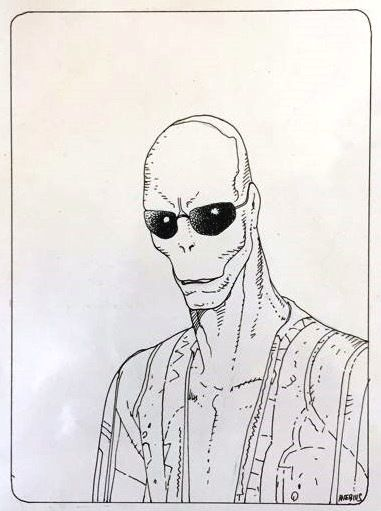 Moebius - Original drawing for trading card - Boaz the Cydberg Assassin (Major Fatal) - (1993)