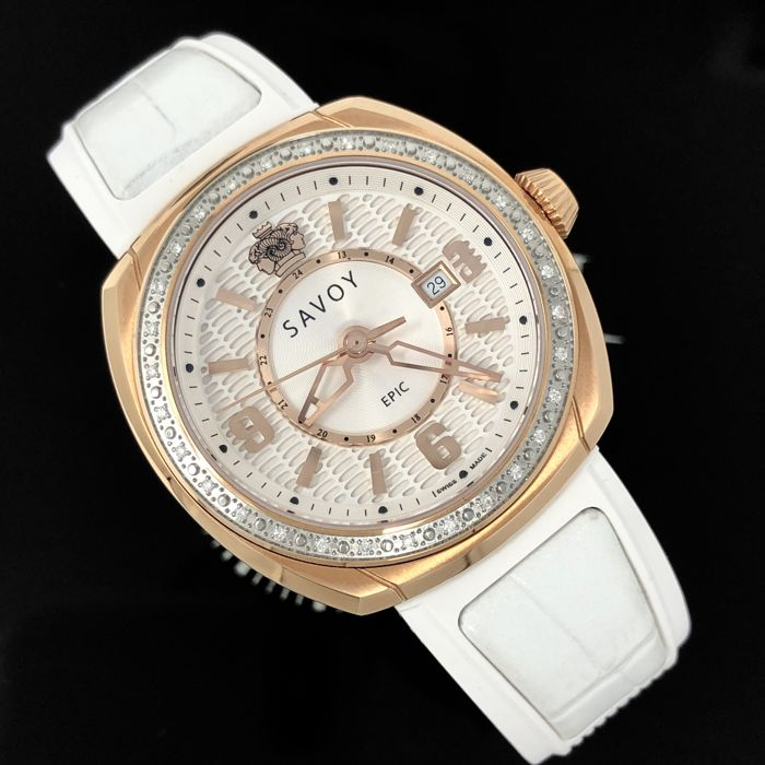 Savoy - Diamond Epic Rose Gold White Silicon band Swiss made - G4004J.01B.RB06 - Dames - 2011-heden