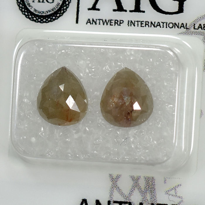 2 pcs Diamantes - 3.41 ct - Pera - Natural Gray - N/A - NO RESERVE PRICE