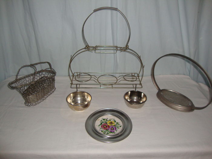 Antique 3 Bowls and 3 Baskets - Silver plated - Portugal - 1900-1949