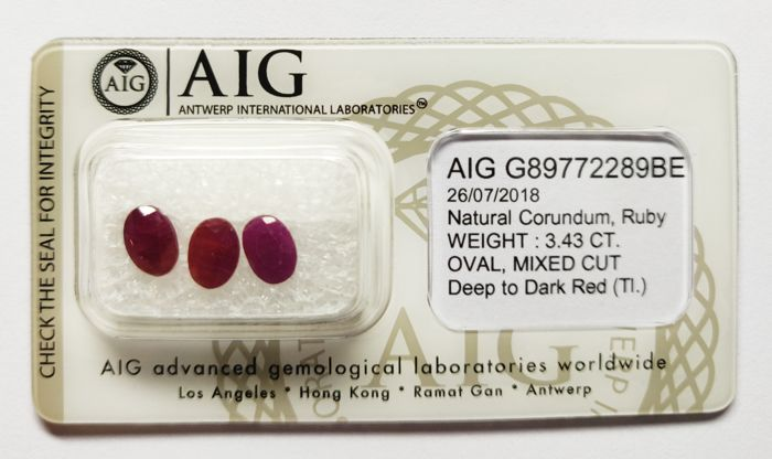 3 pcs Deep to Dark Red Ruby - 3.43 ct