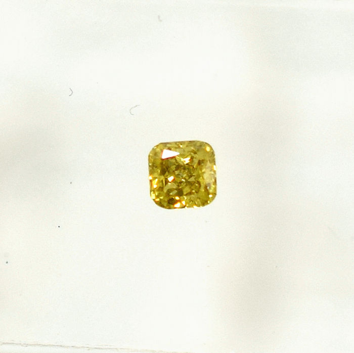 Diamante - 0.14 ct - Cojín - Natural Fancy Intense Yellow - VS1 - NO RESERVE PRICE