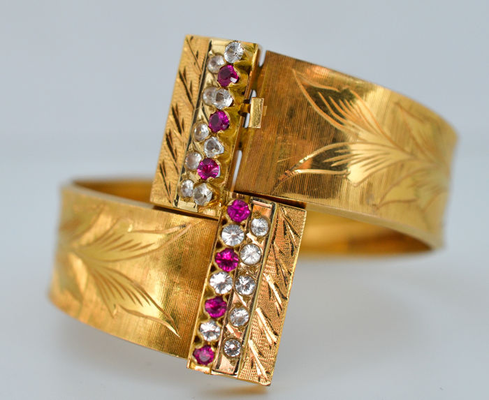 18 kt. Yellow gold - Bracelet - 2.74 ct Diamond - Ruby