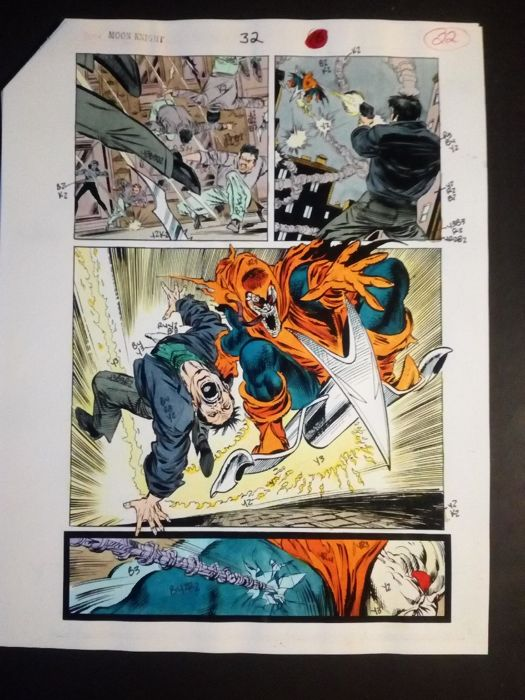 Moon knight 33 - Original hand coloured / inked page with correction - (1990)