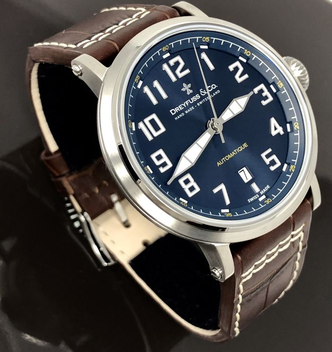 """Dreyfuss & Co. - Automatic Watch 1924 Brown Leather Strap Swiss """"NO RESERVE PRICE"""" - DGS00153/19 - Uomo - 2011-presente"""