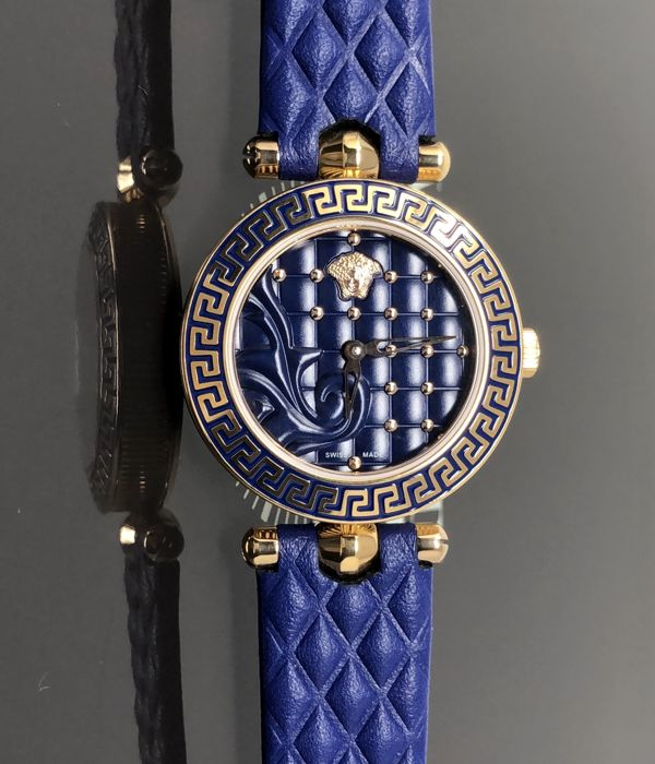 Versace - Micro Vanitas Blue IP Rose Gold leather Swiss made - VQM090016 - Donna - NEW