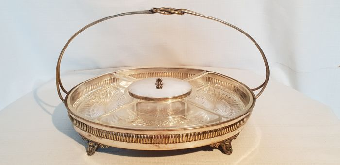 Serving plate with glass compartments - Silver plated - Europe - 1950-1999