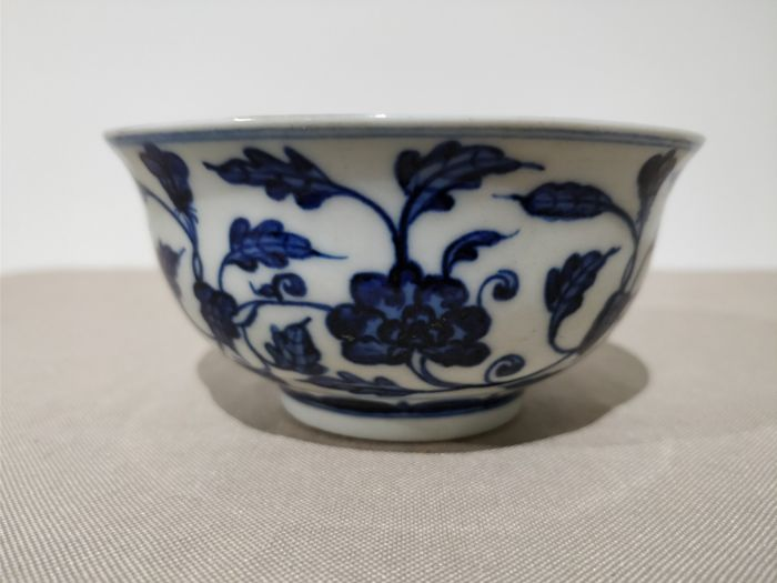 Bowl Blue And White Porcelain Lotus Flower China Late 20th